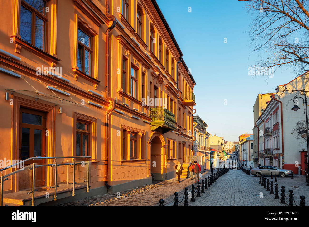 Old town houses in the Trinity Suburb, Minsk, Belarus, Eastern Europe - Stock Image