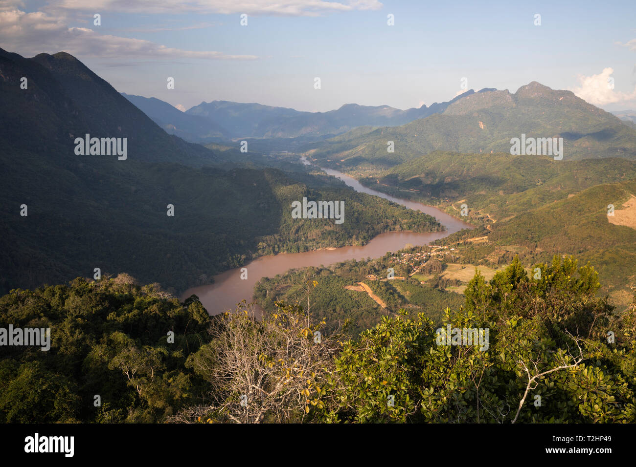 Karsk peaks and the Nam Ou River from the top of the Pha Daeng Peak Viewpoint, Nong Khiaw, Luang Prabang Province, Northern Laos, Southeast Asia Stock Photo