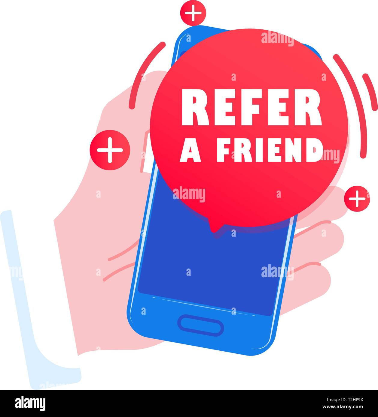 Smartphone in hand, message on the screen Refer a friend - Stock Image