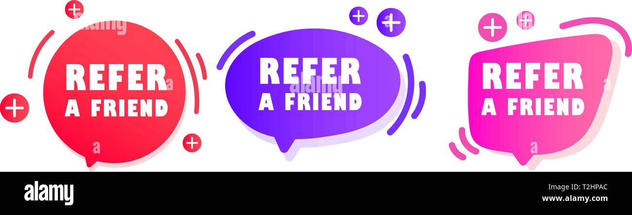 Refer a friend sticker and refer friends shopping label. - Stock Image