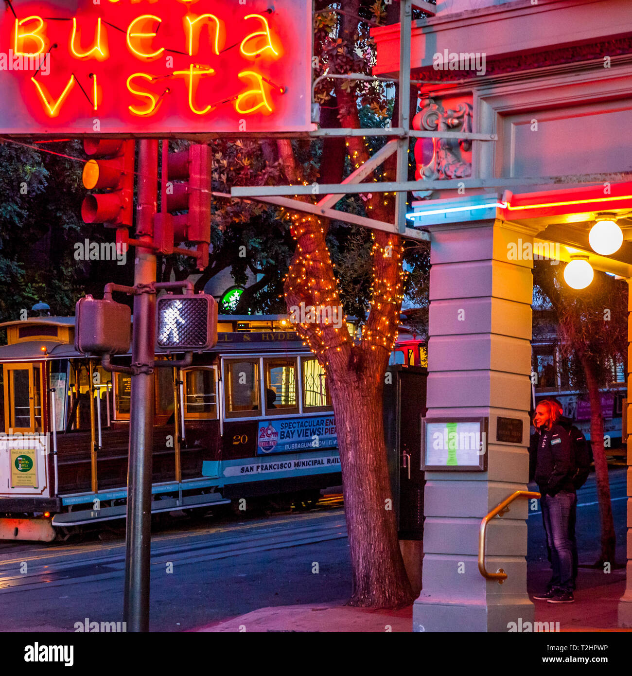 Outside the Buena Vista Grill at Fishermans Wharf in San Francisco on a quiet midweek evening with few tourists. - Stock Image