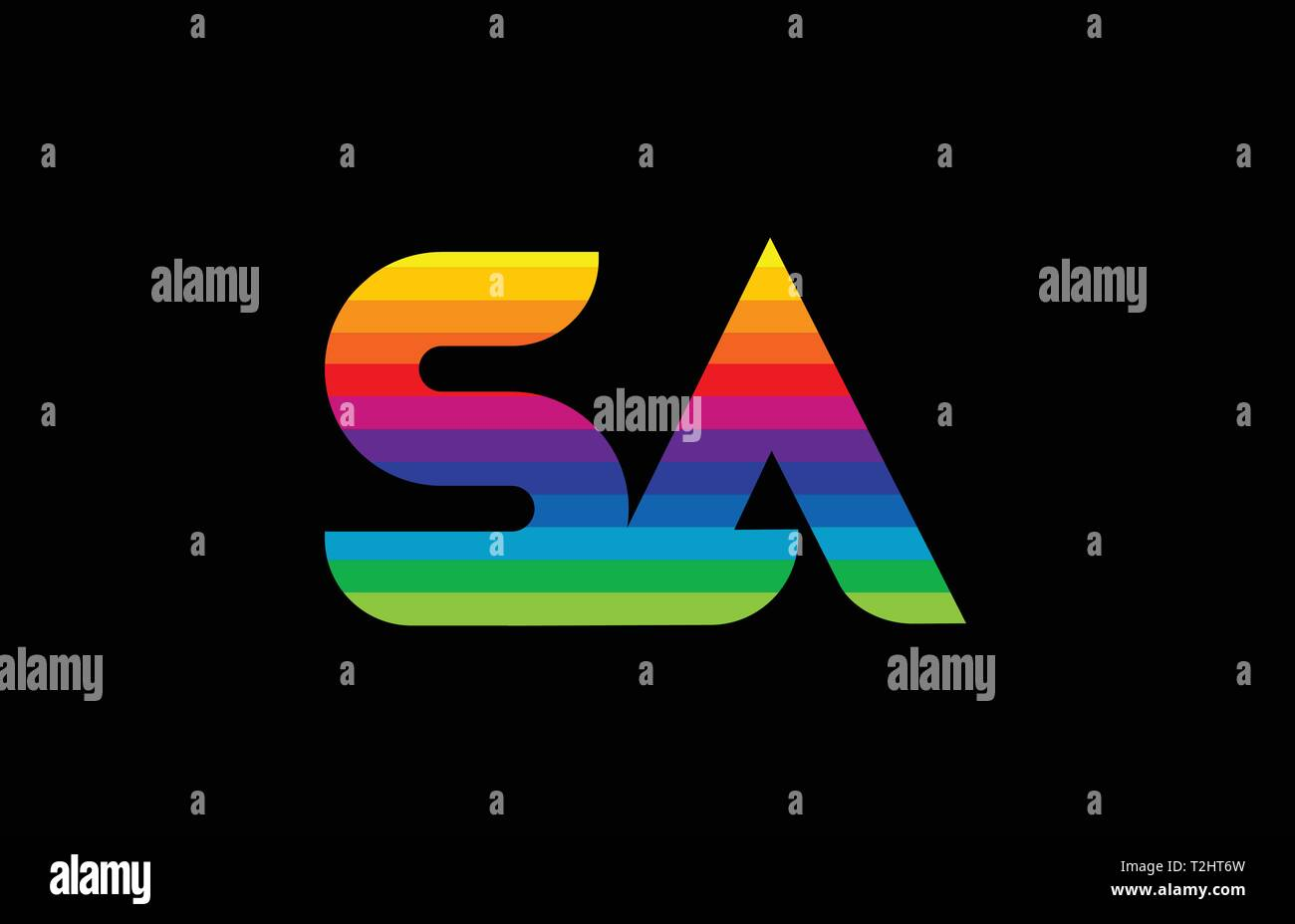 rainbow color colored colorful alphabet letter sa s a logo combination design suitable for a company or business - Stock Vector