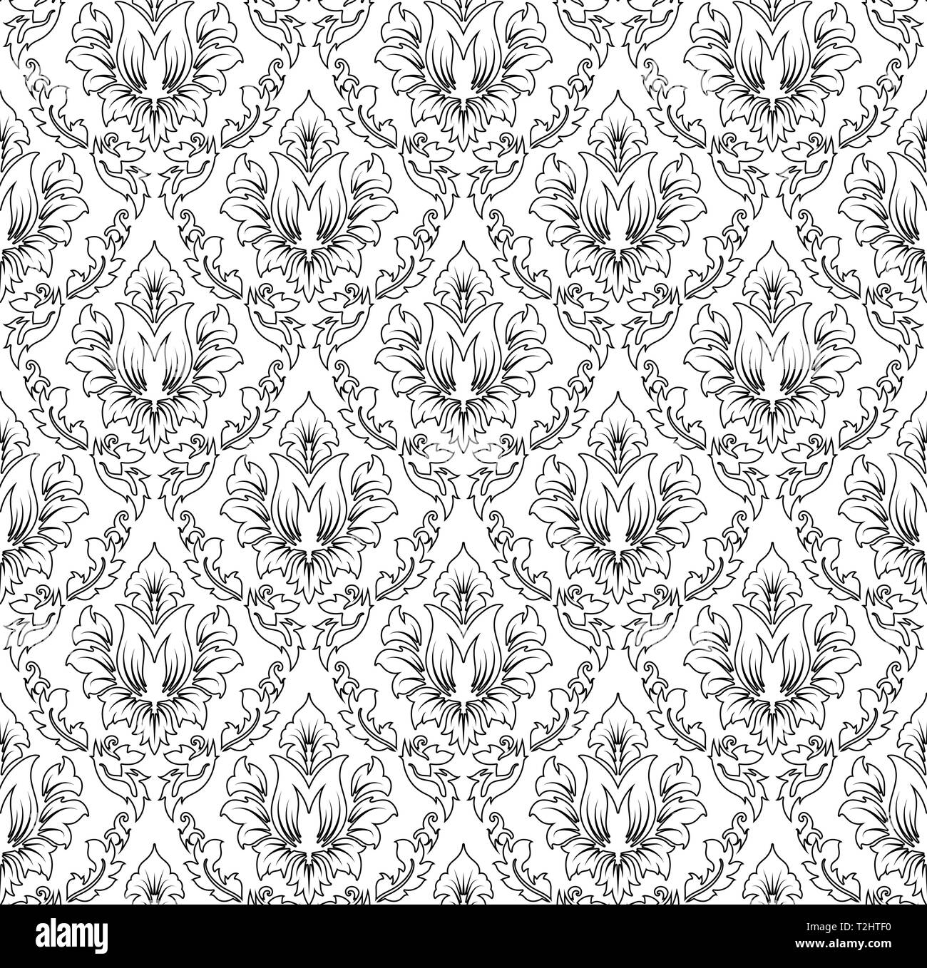 Damask Seamless Pattern Elegant Outline Design In Royal Baroque Style Background Texture Floral And Swirl Element Ideal For Textile Print And Wall Stock Vector Image Art Alamy
