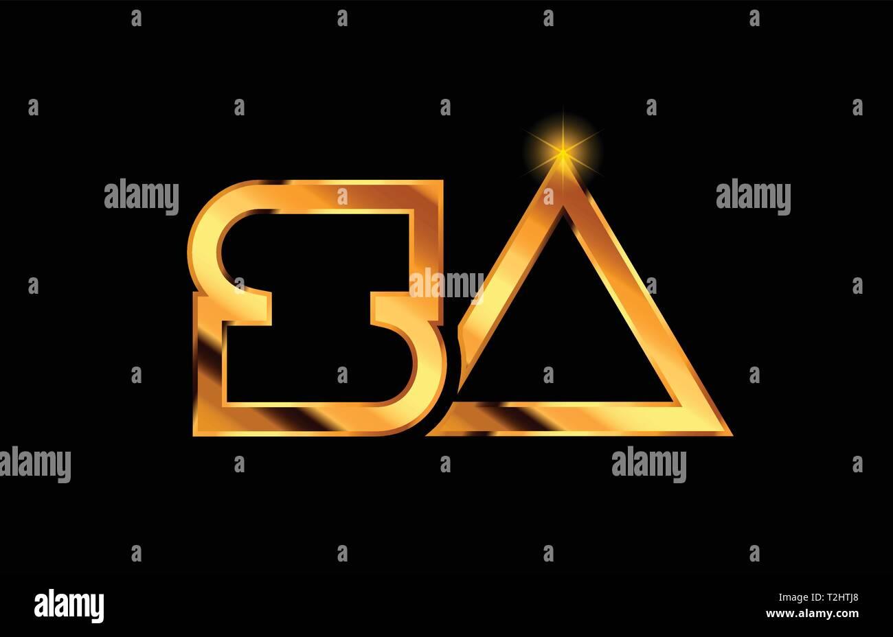 gold golden metal alphabet letter logo combination sa s a design suitable for a company or business - Stock Vector
