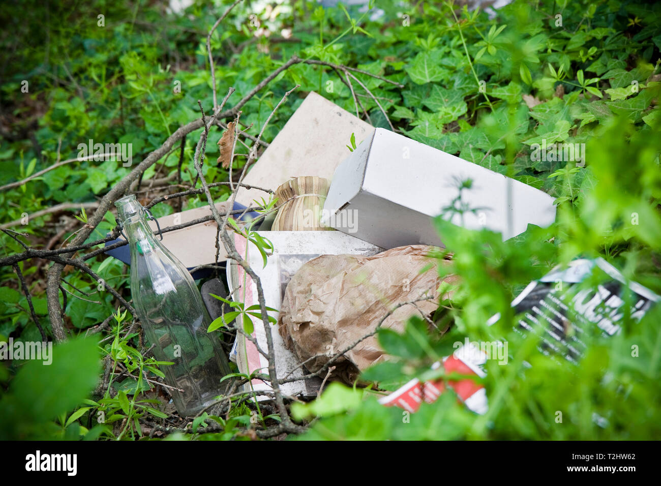 Illegal dumping: education and rudeness concept - Stock Image
