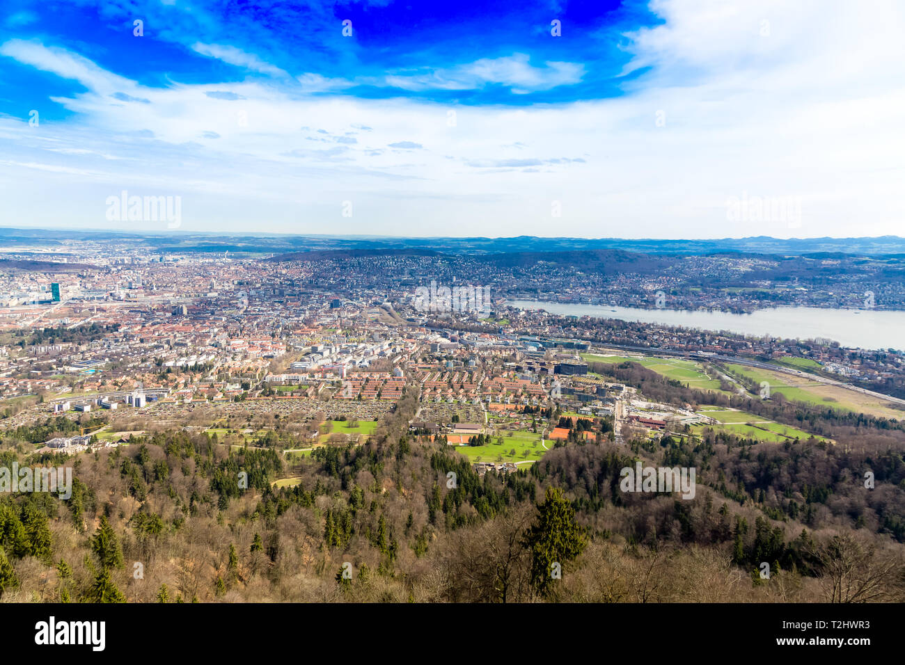 Panorama of Zurich city from the top of Uetliberg mountain Stock Photo