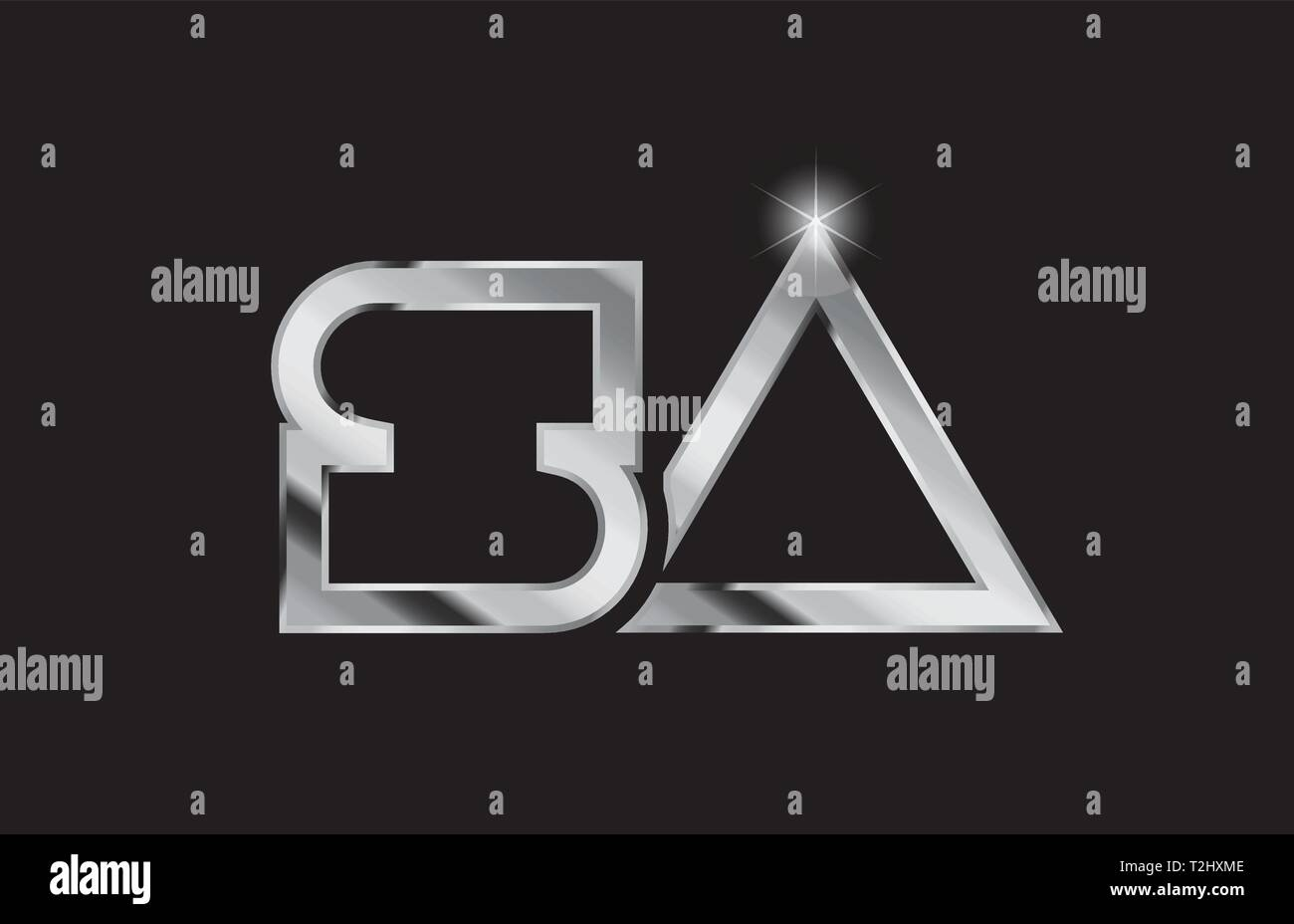 silver metal alphabet letter logo combination sa s a design suitable for a company or business - Stock Vector