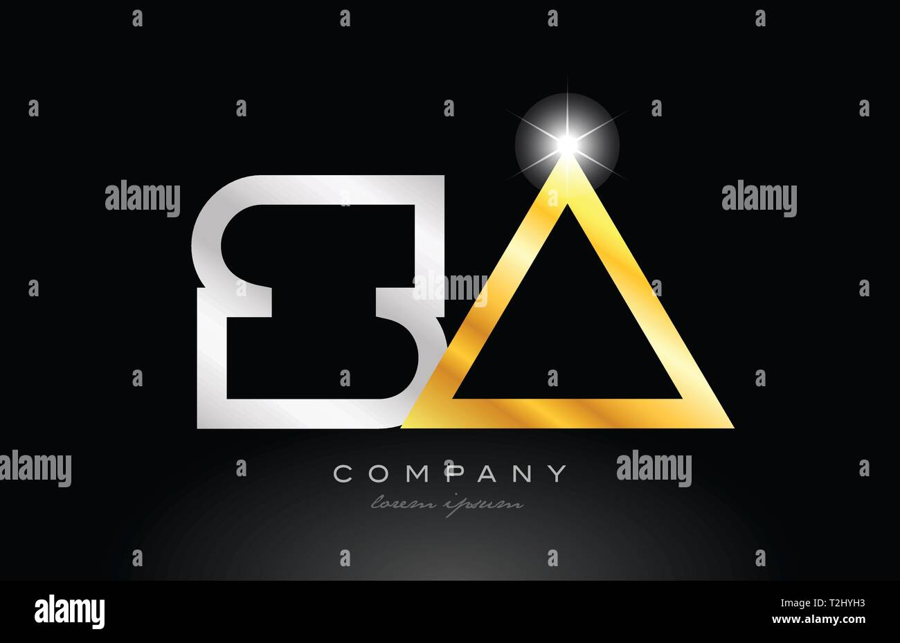 gold silver alphabet letter logo combination sa s a design suitable for a company or business - Stock Vector