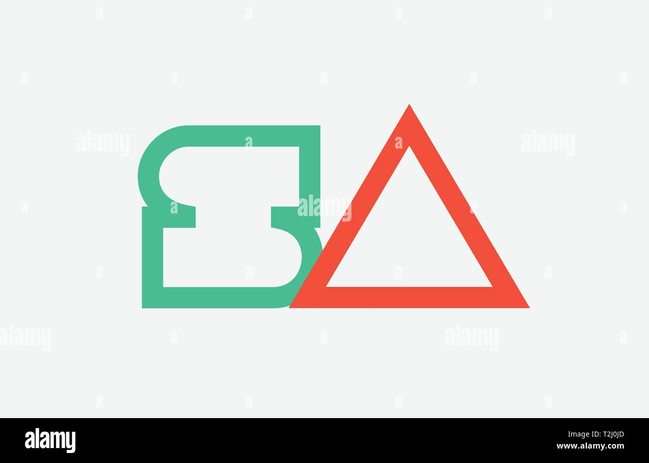 orange green alphabet letter logo combination sa s a design suitable for a company or business - Stock Vector