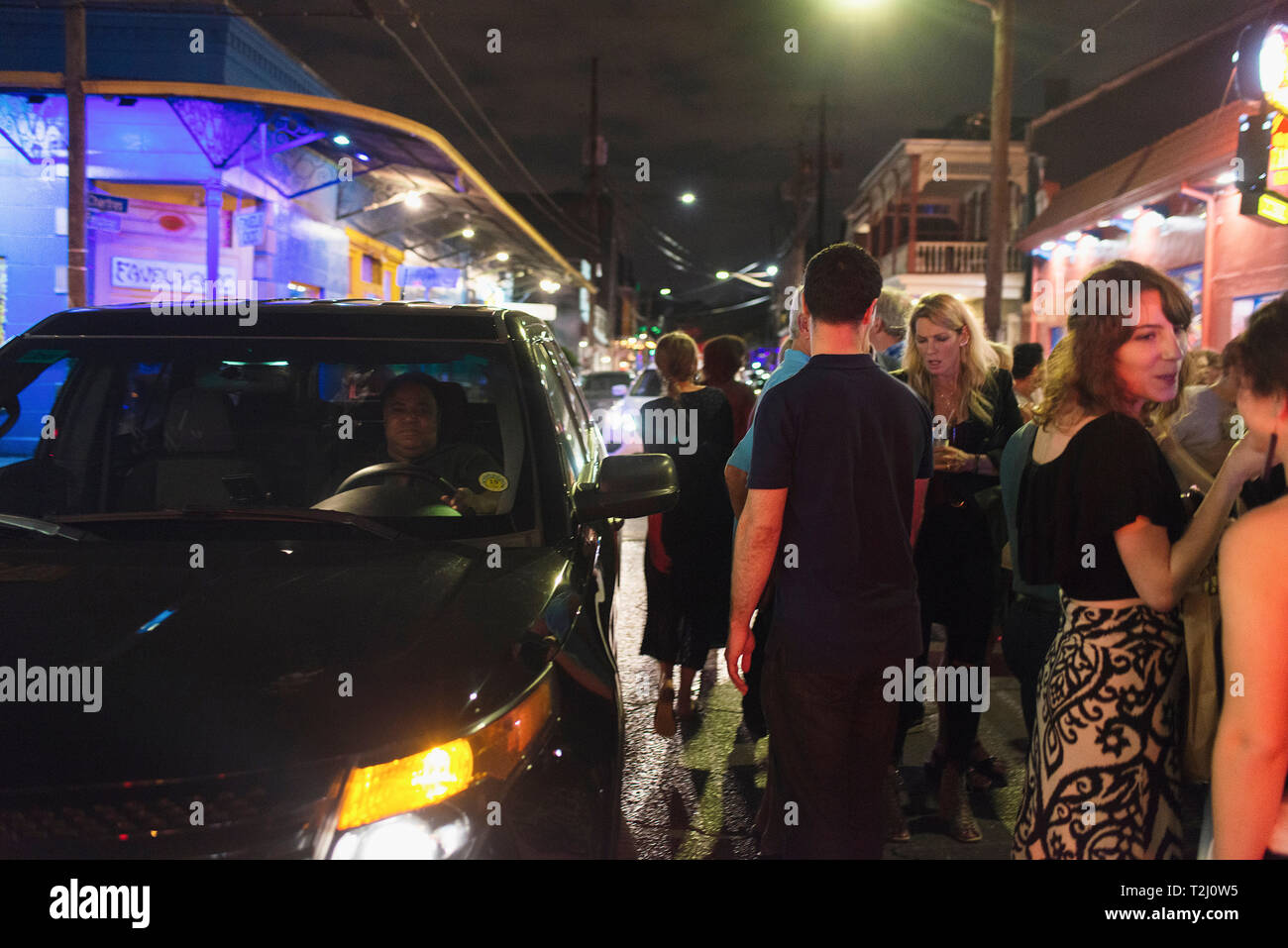 The party scene on Frenchmen Street in New Orleans. - Stock Image