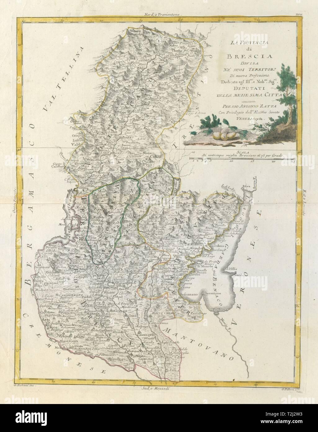 'La Provincia di Brescia'. Lombardy. Lake / Lago di Garda & Iseo. ZATTA 1784 map - Stock Image