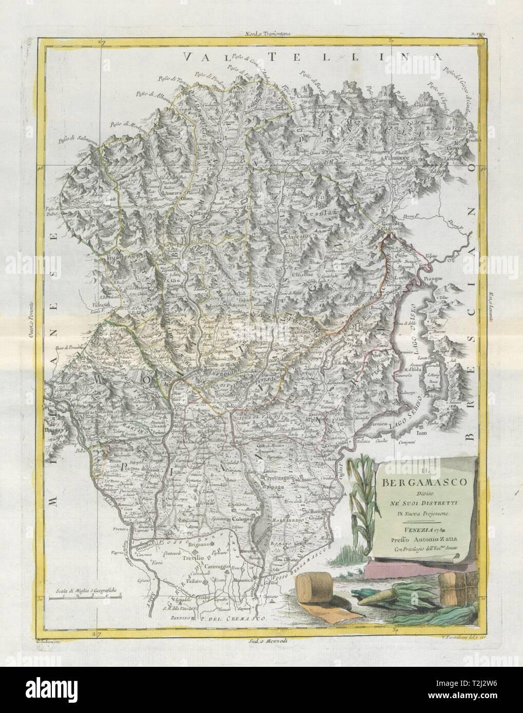 'Il Bergamasco diviso…'. Bergamo province. Lake Iseo. ZATTA 1784 old map - Stock Image