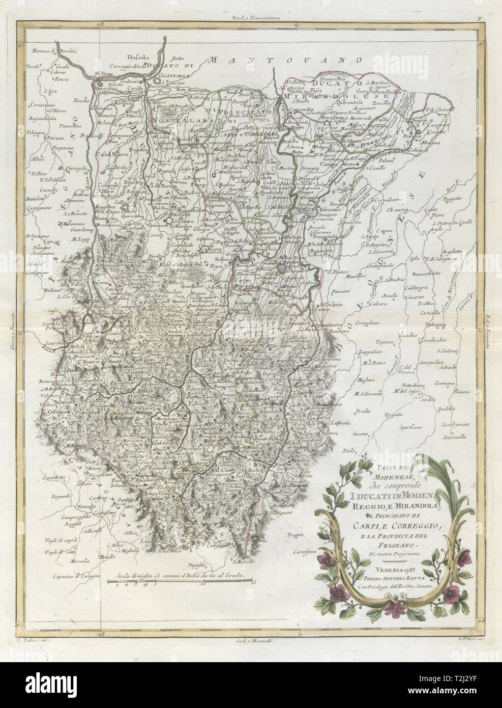 'Parte del Modenese che comprende I Ducati di Modena, Reggio…'. ZATTA 1784 map - Stock Image