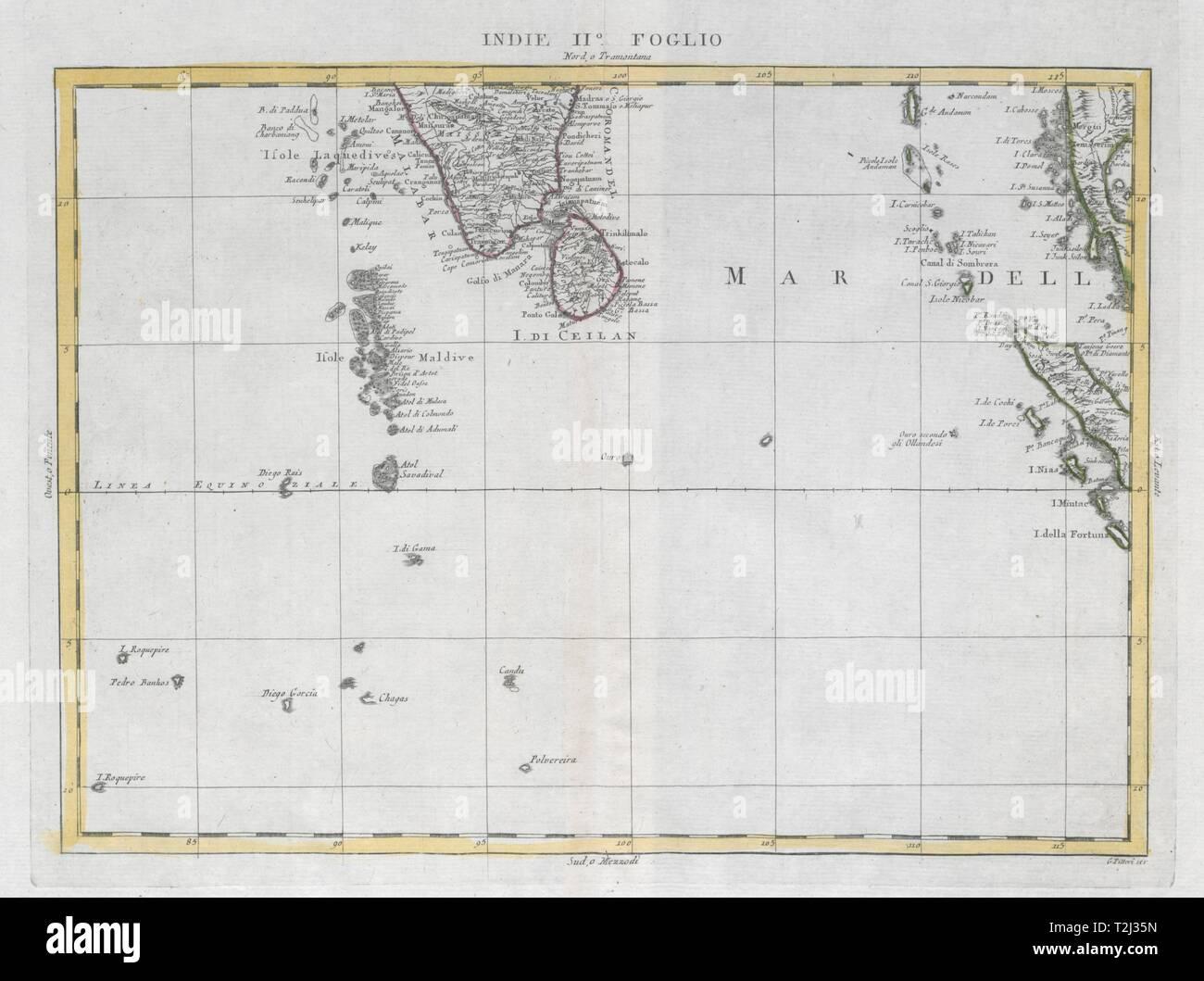 """""""Indie Foglio II"""". Eastern Indian Ocean. Maldives Sumatra Mergui. ZATTA 1785 map Stock Photo"""