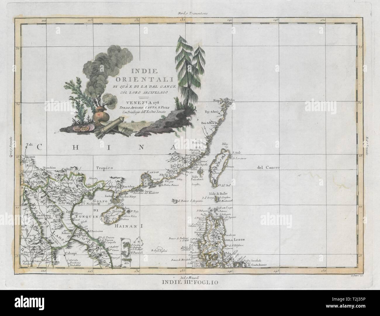 'Indie Orientali…' South China Sea. Luzon Guangdong Macao Hainan. ZATTA 1785 map - Stock Image