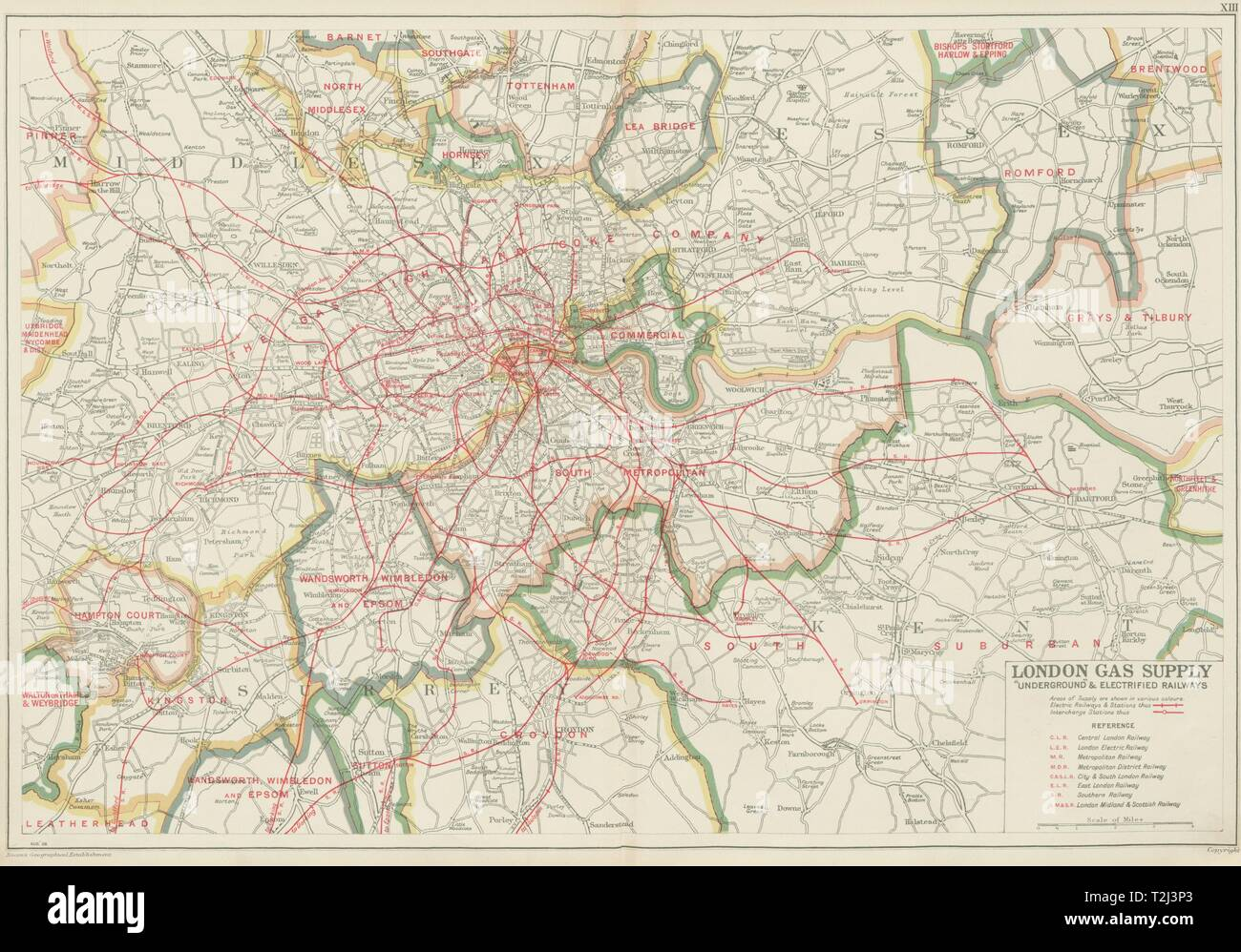 London Map Areas.London Gas Supply Areas Underground Tube Electrified Railways