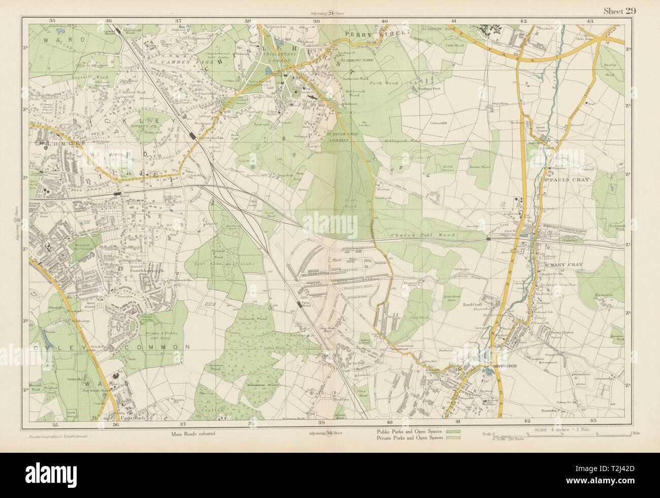 BROMLEY & ORPINGTON Chislehurst Petts Wood St Paul's Mary Cray. BACON 1934 map - Stock Image