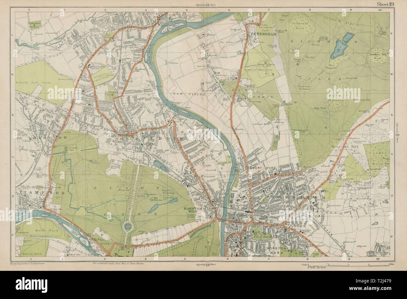 London Sw Map.Sw London Twickenham Kingston Teddington Hampton Richmond Bacon