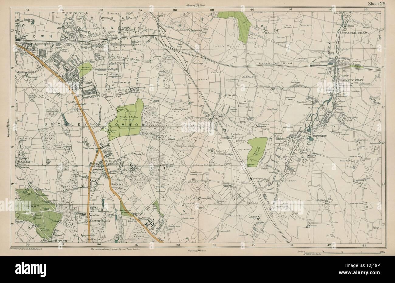 BROMLEY & ORPINGTON Hayes Petts Wood Keston St Paul's Mary Cray. BACON  1919 map - Stock Image