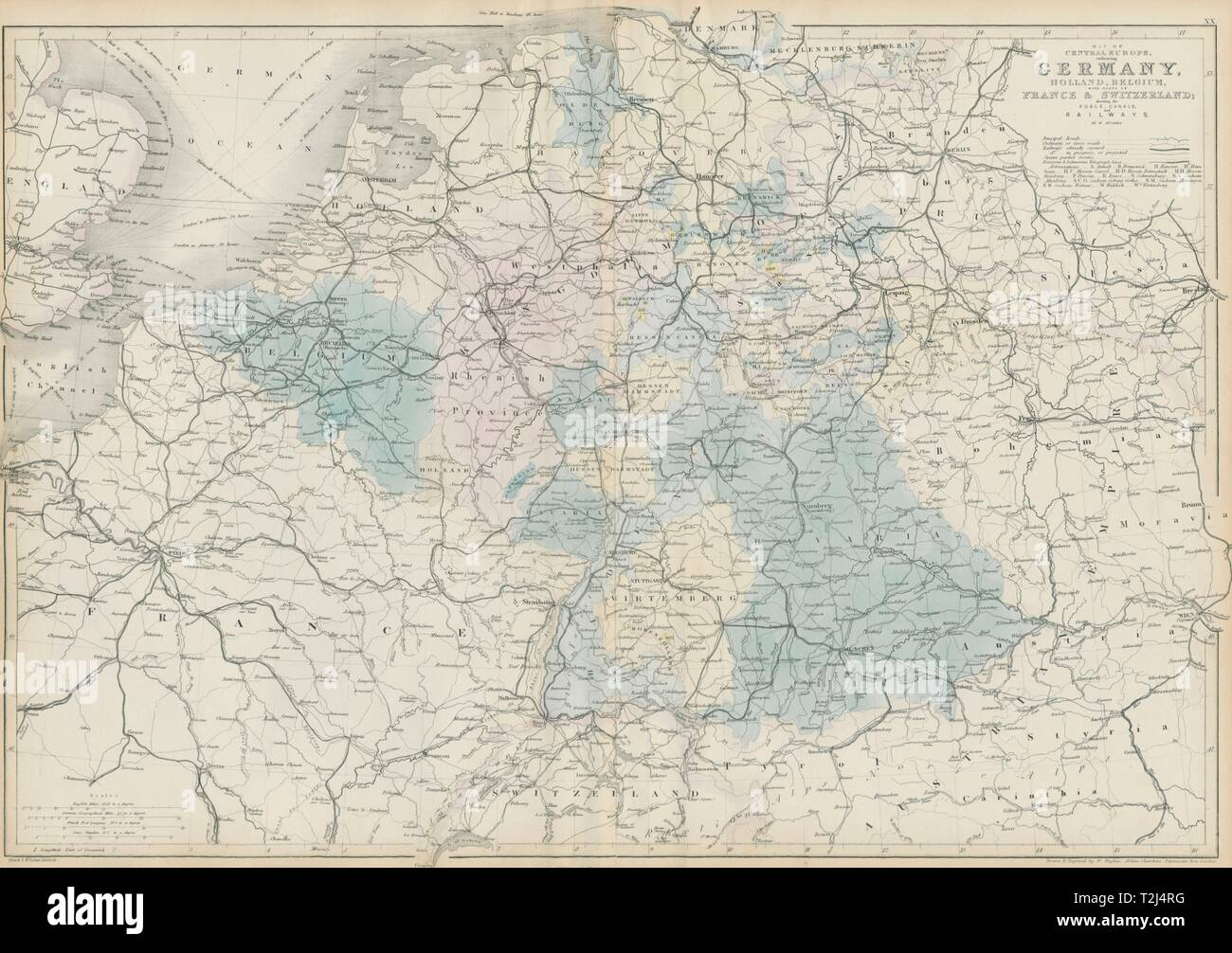 Map Of Central Germany.Central Europe Roads Canals Railways Germany Holland Belgium