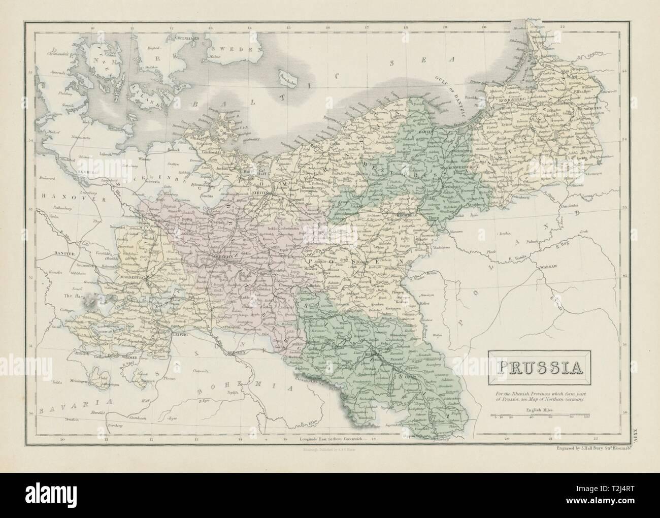 Prussia. Pomerania Poland Silesia Posen Brandenburg. SIDNEY HALL 1856 old map - Stock Image