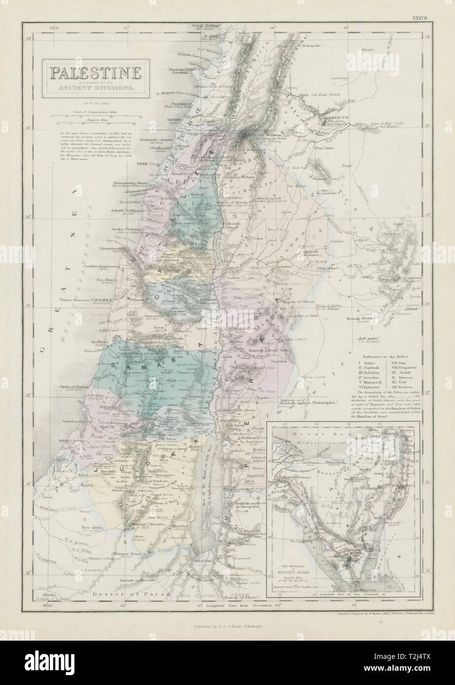 Palestine with its ancient divisions. Inset Sinai peninsula ...