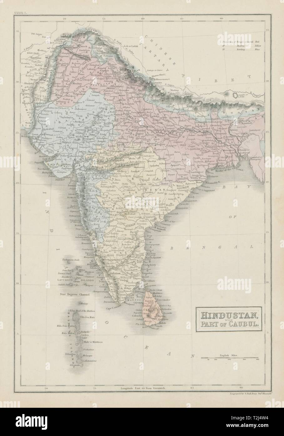 Hindustan with part of Caubul. British India & Afghanistan. SIDNEY HALL 1856 map - Stock Image