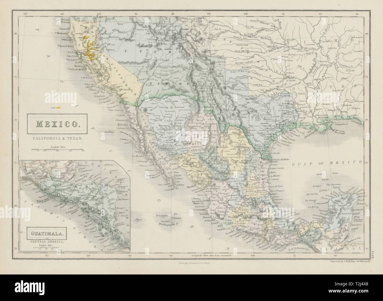 Map Of Texas Districts.Mexico California Texas Ca Gold Rush Districts Utah Nm