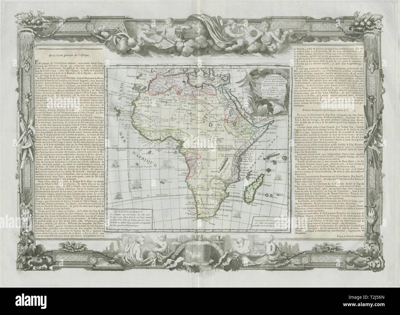 'L'Afrique dressée…'. Africa Barbarie Zanguebar &c. DESNOS/DE LA TOUR 1771 map - Stock Image