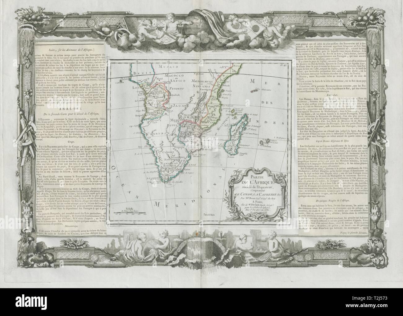 'Partie de l'Afrique audelà de l'Equateur'. Africa. DESNOS/DE LA TOUR 1771 map - Stock Image