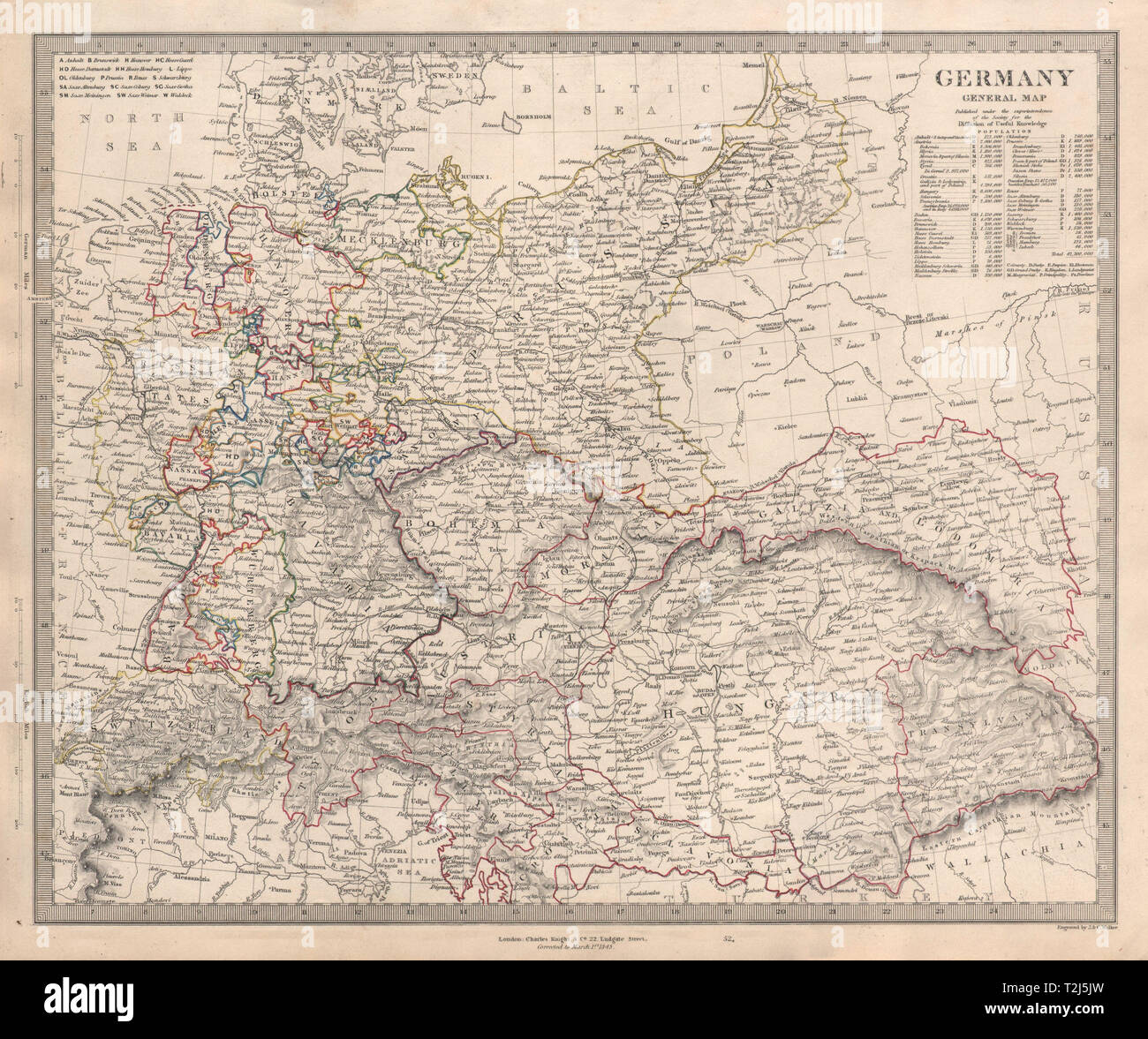 Map Of Germany And Hungary.Germany General Map Austria Hungary Switzerland Population Table