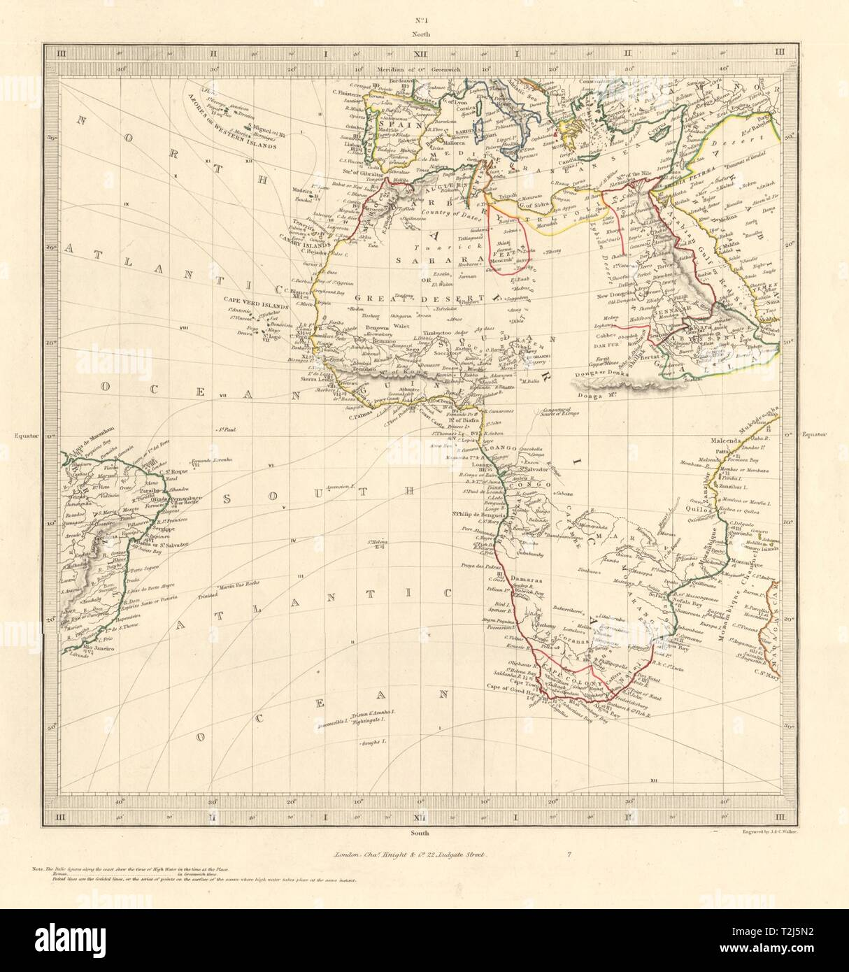 AFRICA South Europe Brazil Gnomonic Projection. Mountains of ...