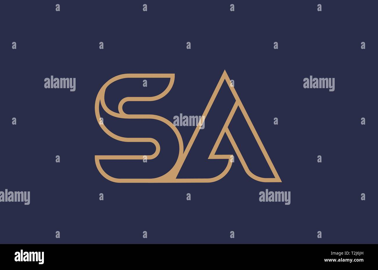 brown blue line alphabet letter SA S A logo combination icon for a company business or corporate identity design - Stock Vector