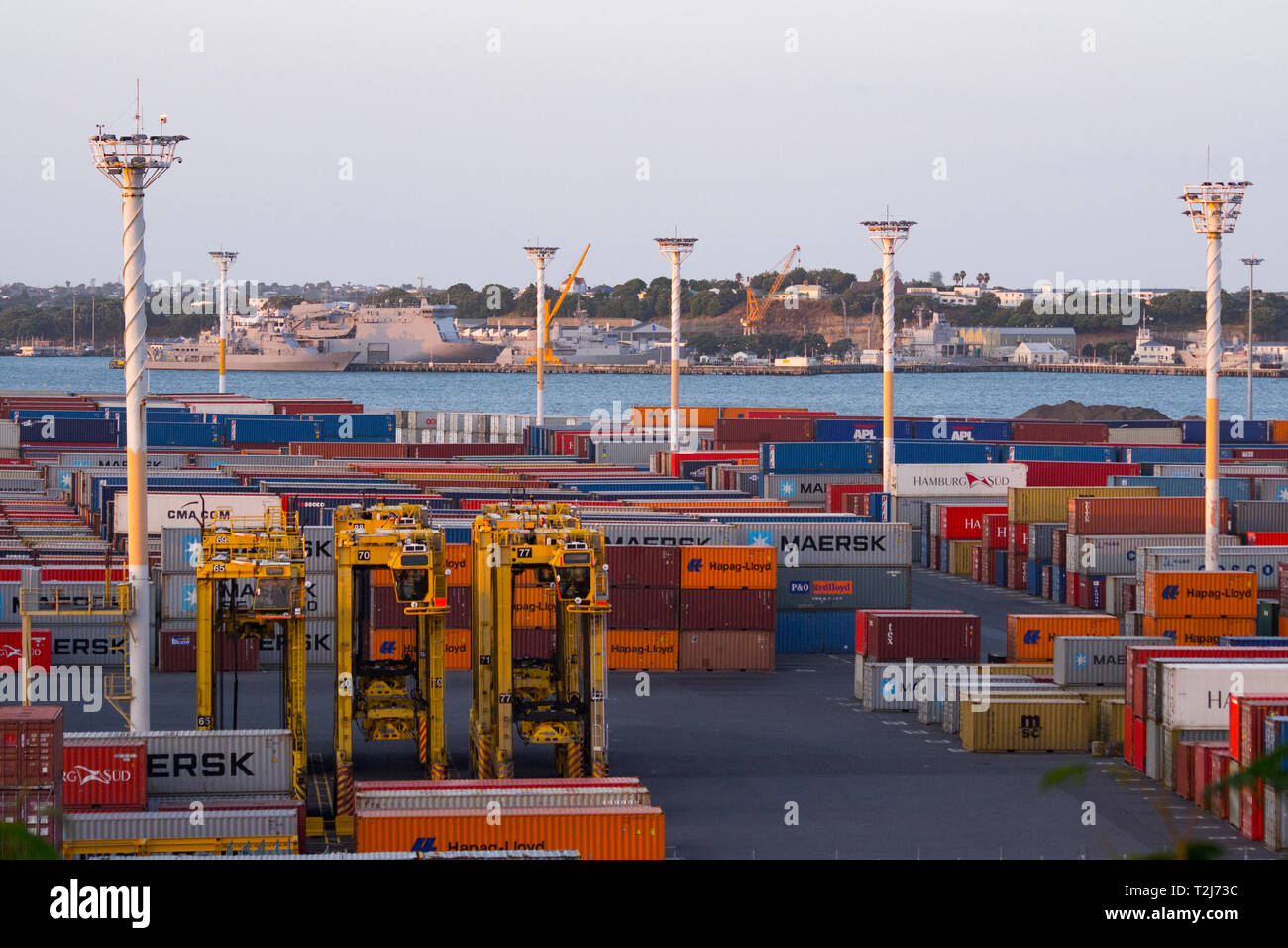 Auckland, New Zealand. Containers at the Ports of Auckland - Stock Image