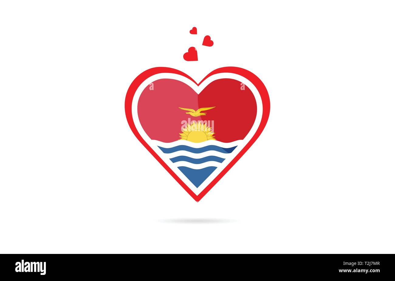 Kiribati country flag inside love heart  design suitable for a logo icon design - Stock Image