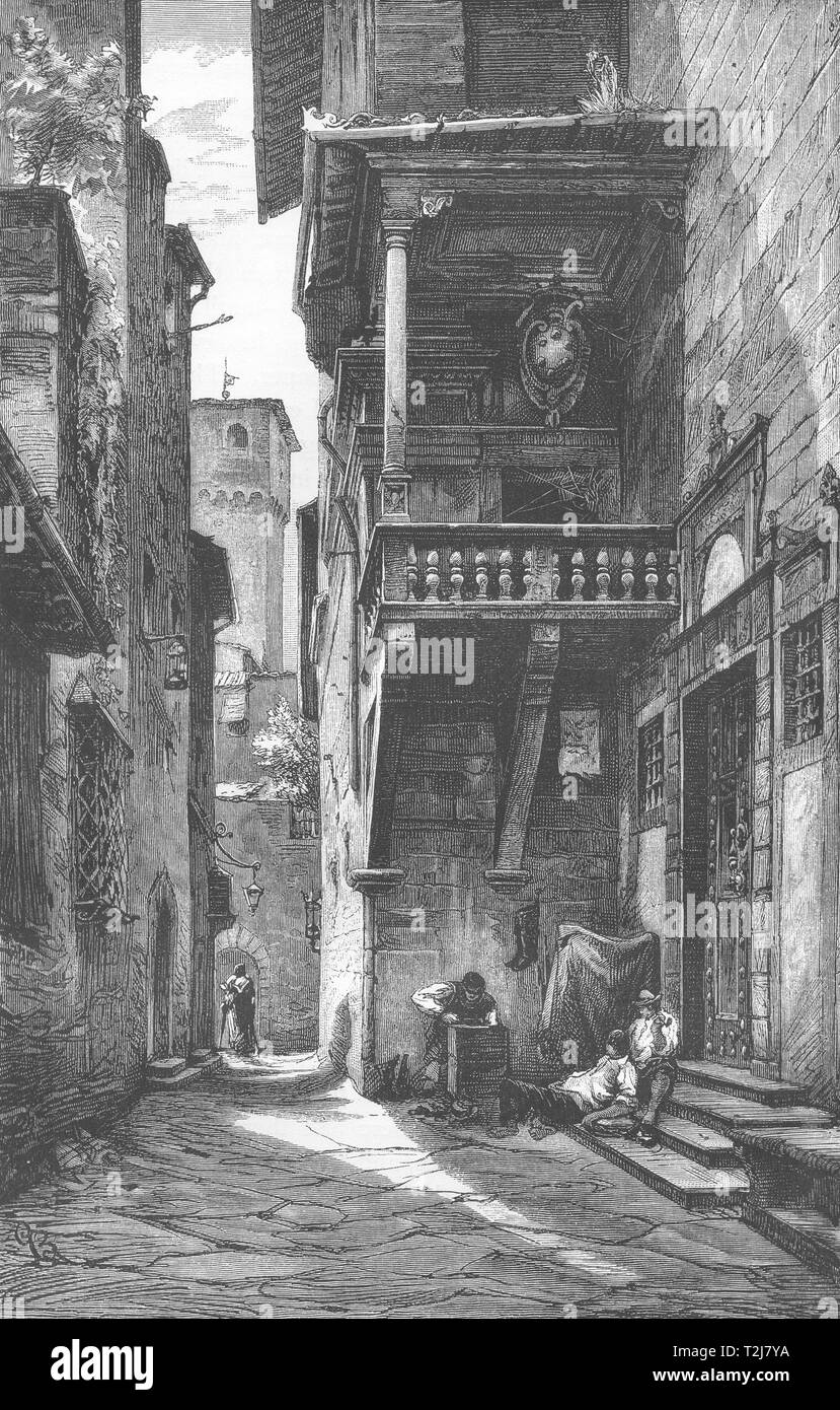 ITALY. Florence. Loggia near Mercato Nuovo 1877 old antique print picture - Stock Image