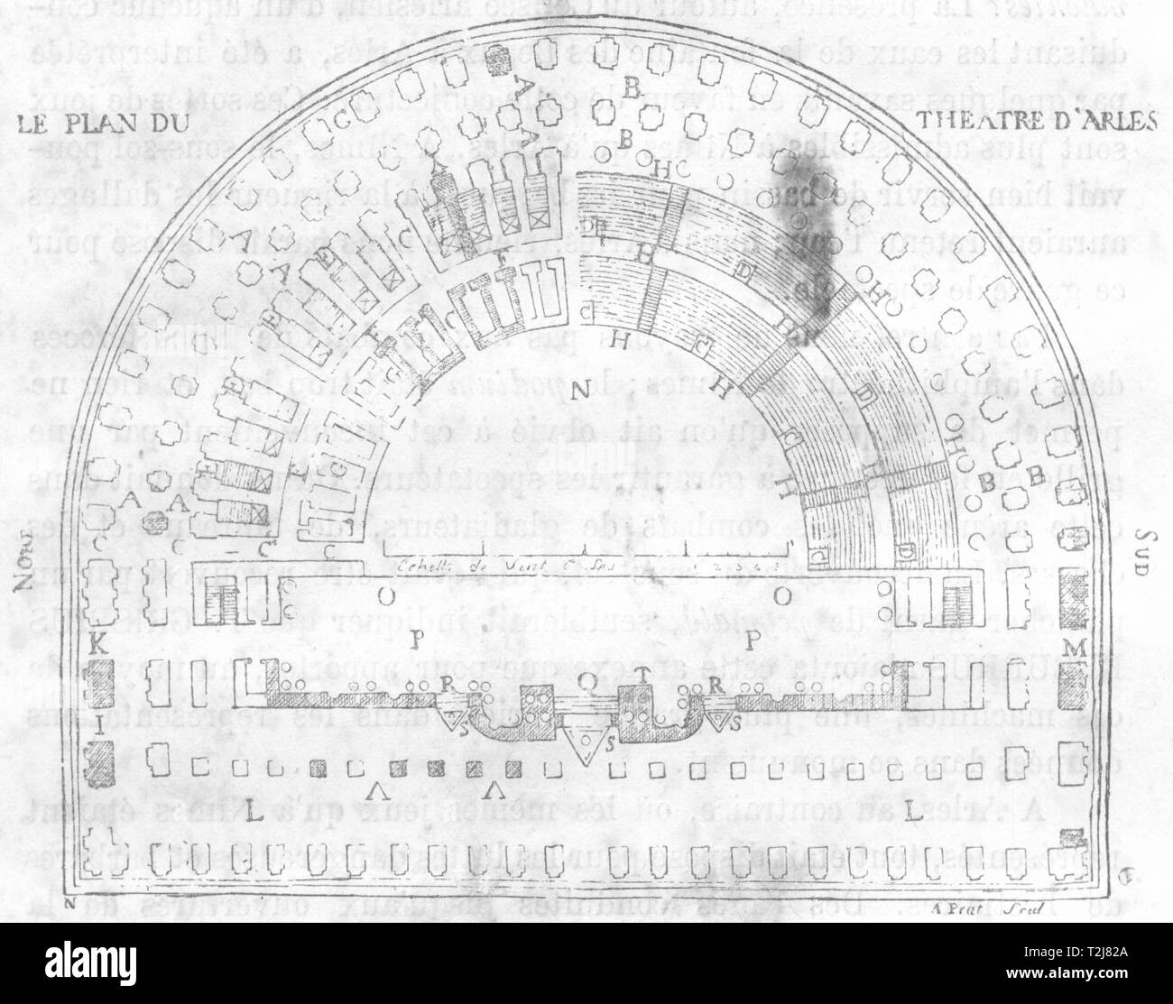 BOUCHES-DU-RHÔNE. Arles. Fac-simile d'une ancienne gravure 1880 old print - Stock Image