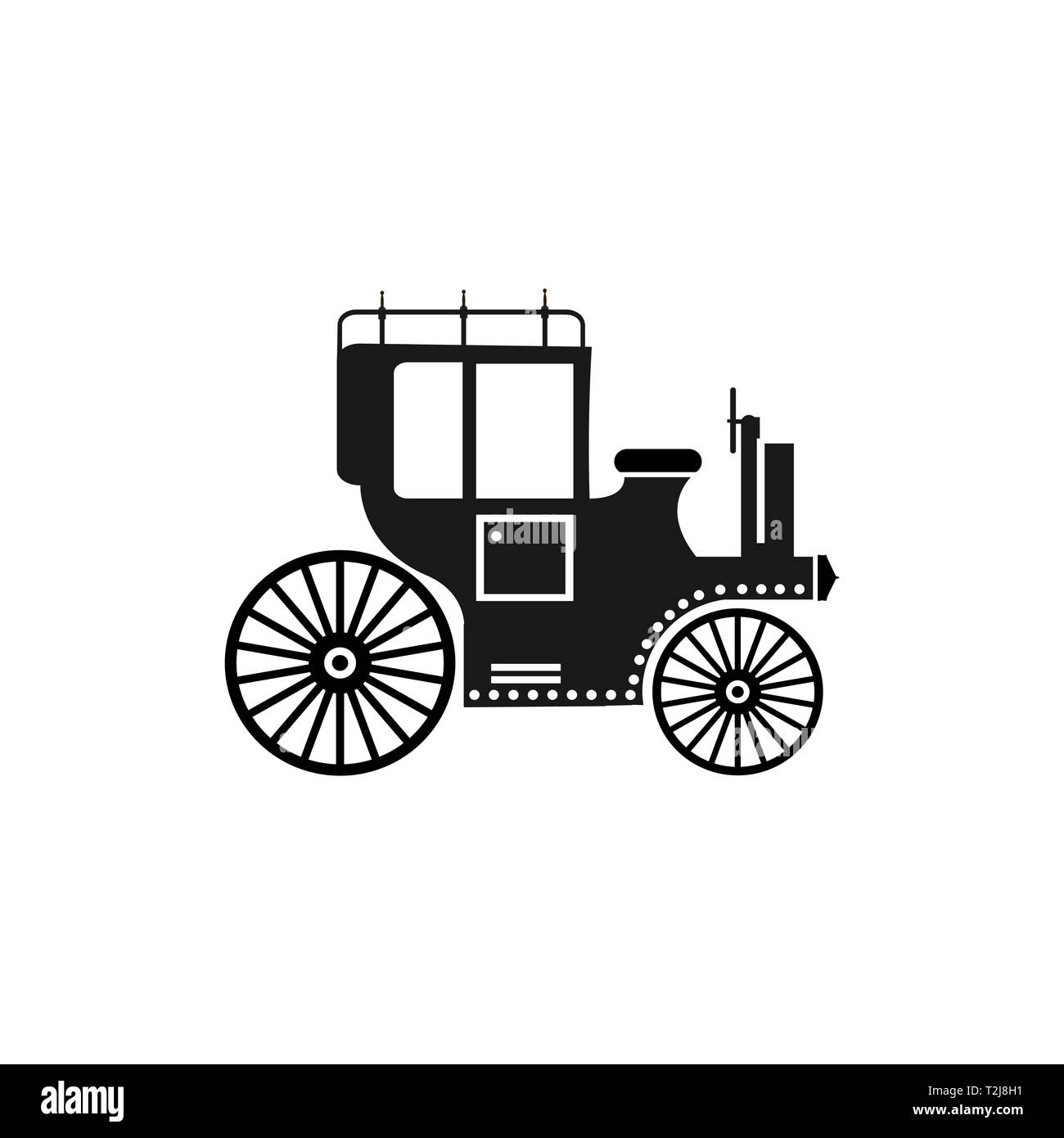 Retro car vehicle silhouette urban infrastructure without shadows cut out Stock Vector
