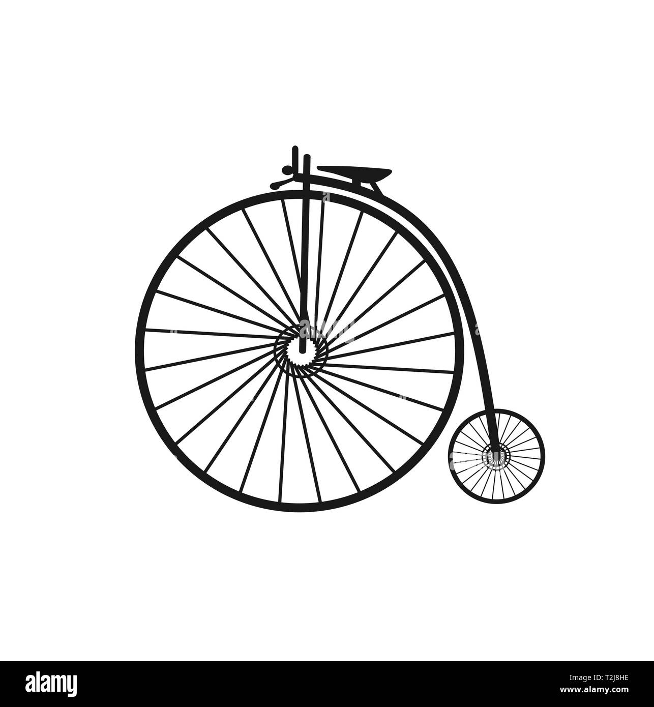 Retro bicycle tricycle vehicle silhouette urban infrastructure without shadows cut out Stock Vector