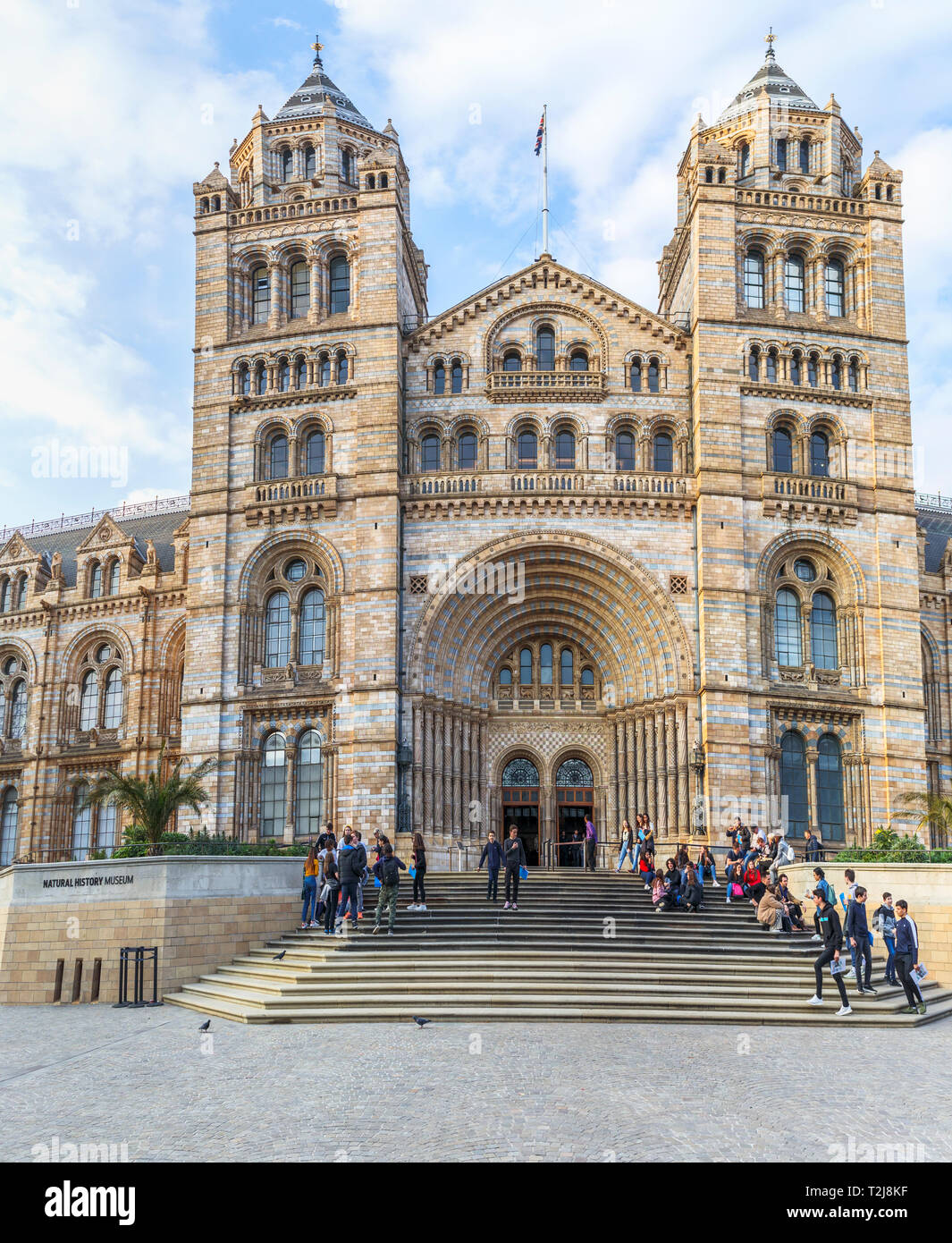 Entrance steps at the iconic Natural History Museum, Waterhouse Building, in Cromwell Road, South Kensington London SW7, visitors on steps - Stock Image