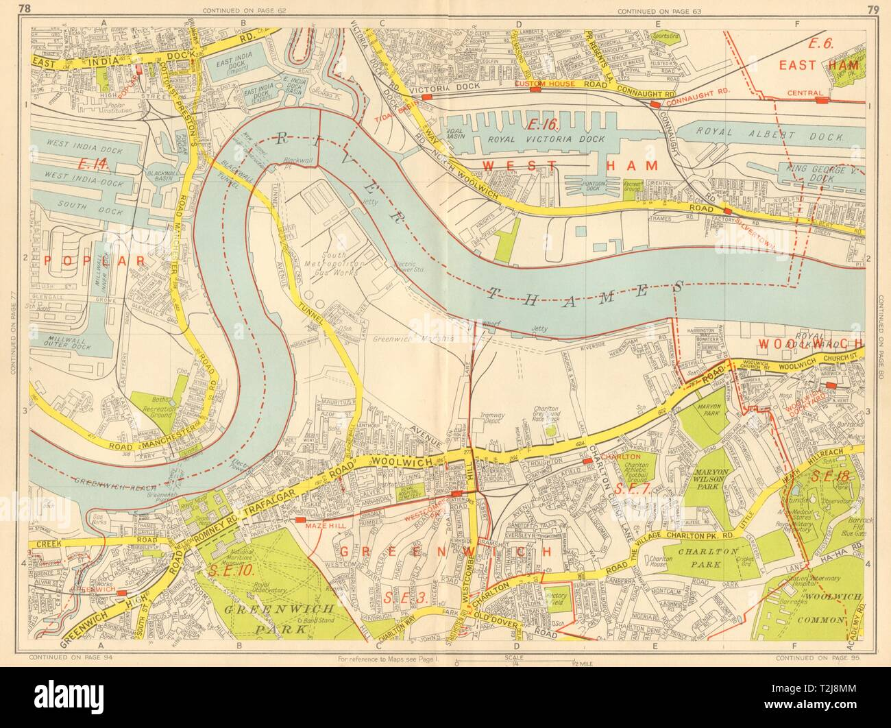 GEOGRAPHERS/' A-Z 1956 map GREENWICH Isle of Dogs Woolwich Charlton Royal Docks