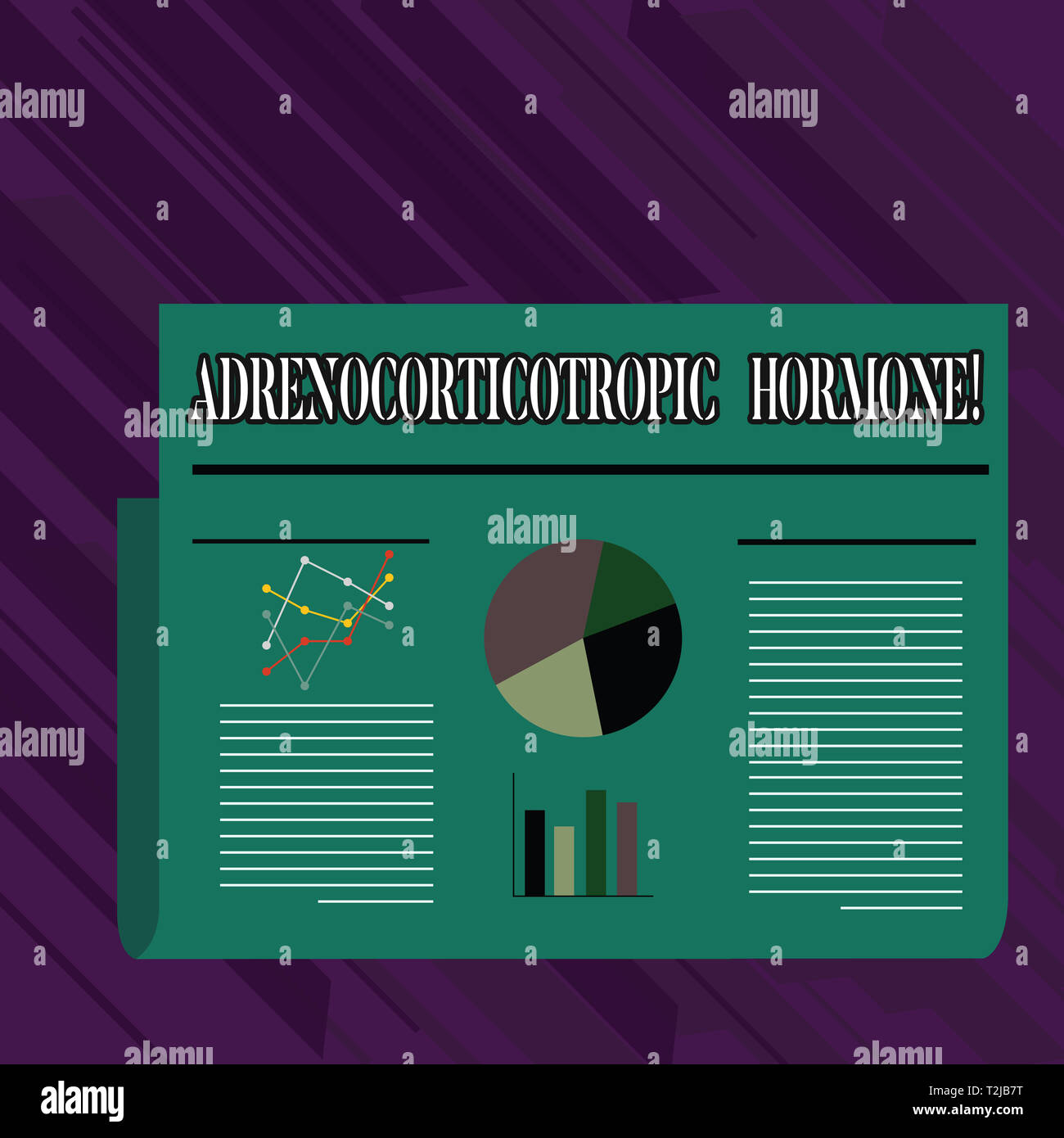 Conceptual hand writing showing Adrenocorticotropic Hormone. Concept meaning hormone secreted by pituitary gland cortex Colorful Layout Design Plan of - Stock Image