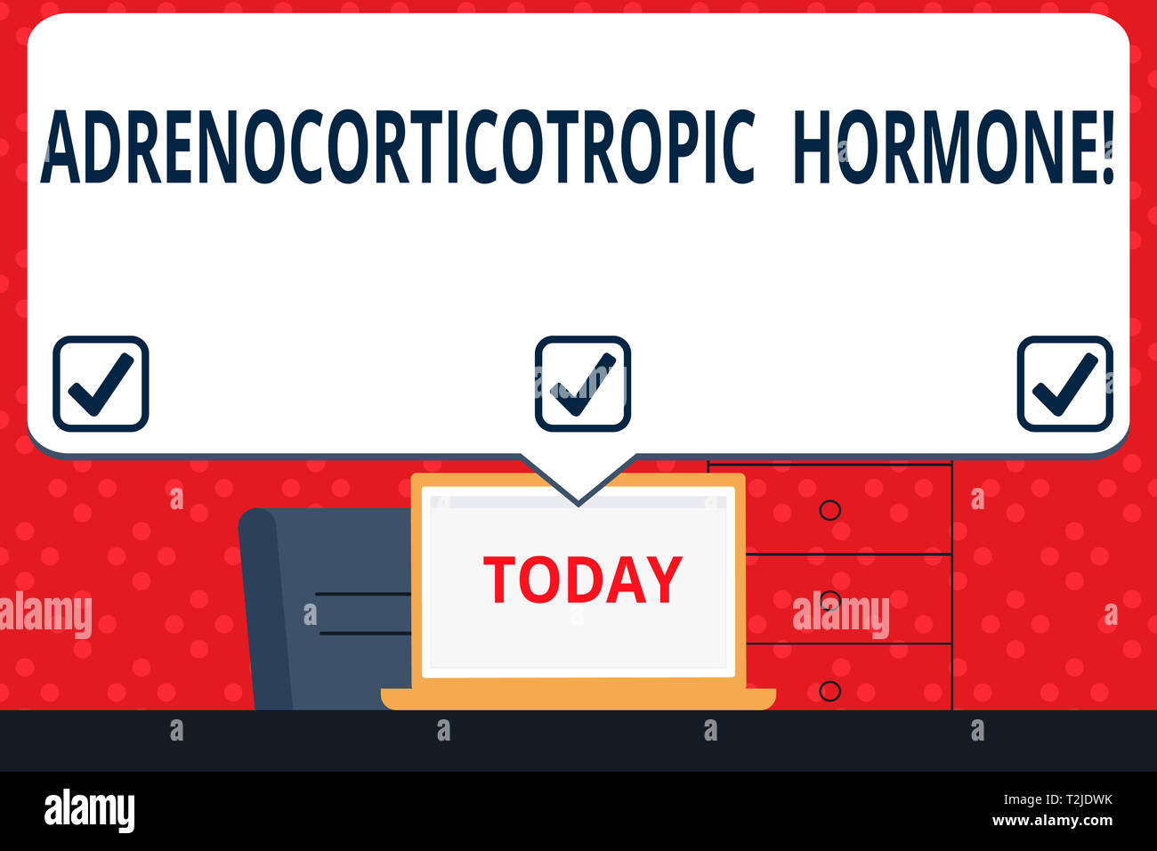 Handwriting text Adrenocorticotropic Hormone. Conceptual photo hormone secreted by pituitary gland cortex Blank Huge Speech Bubble Pointing to White L - Stock Image