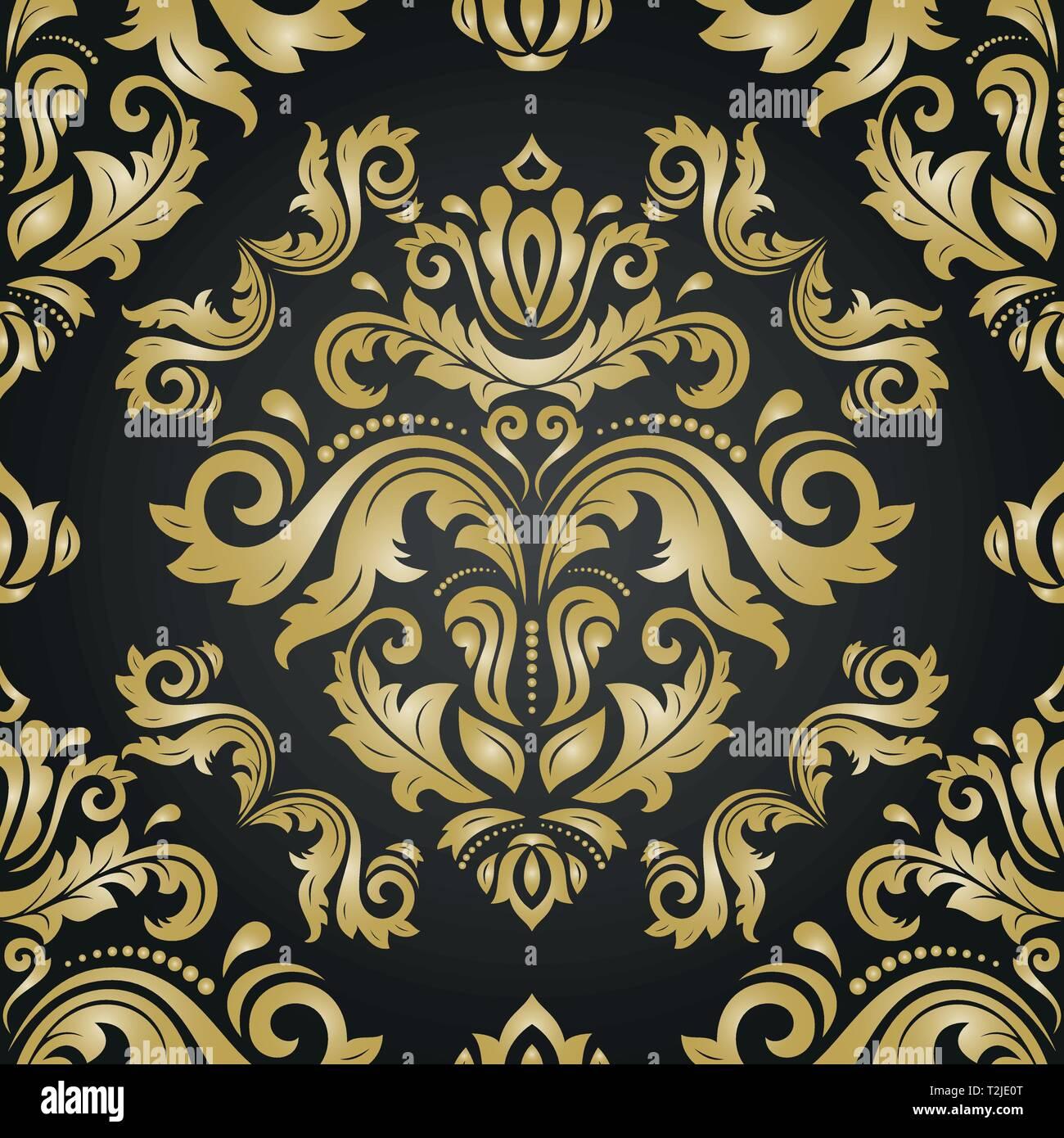 Classic Seamless Vector Pattern. Damask Orient Golden