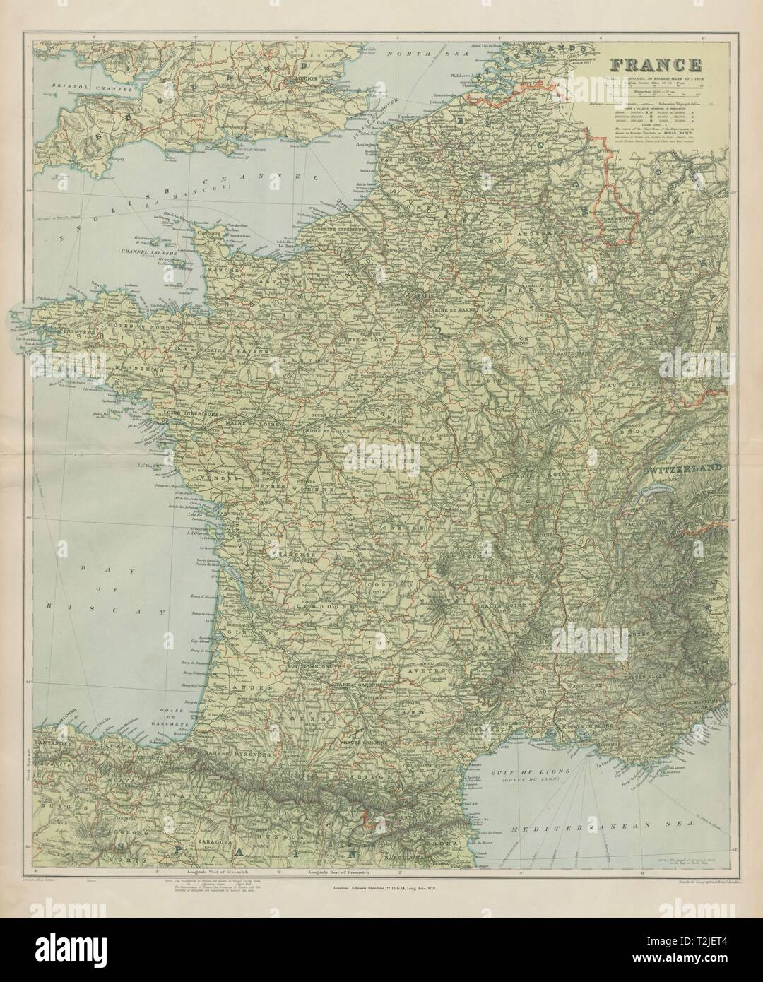 France physical. Mountains & rivers. Large 66x55cm. STANFORD ...