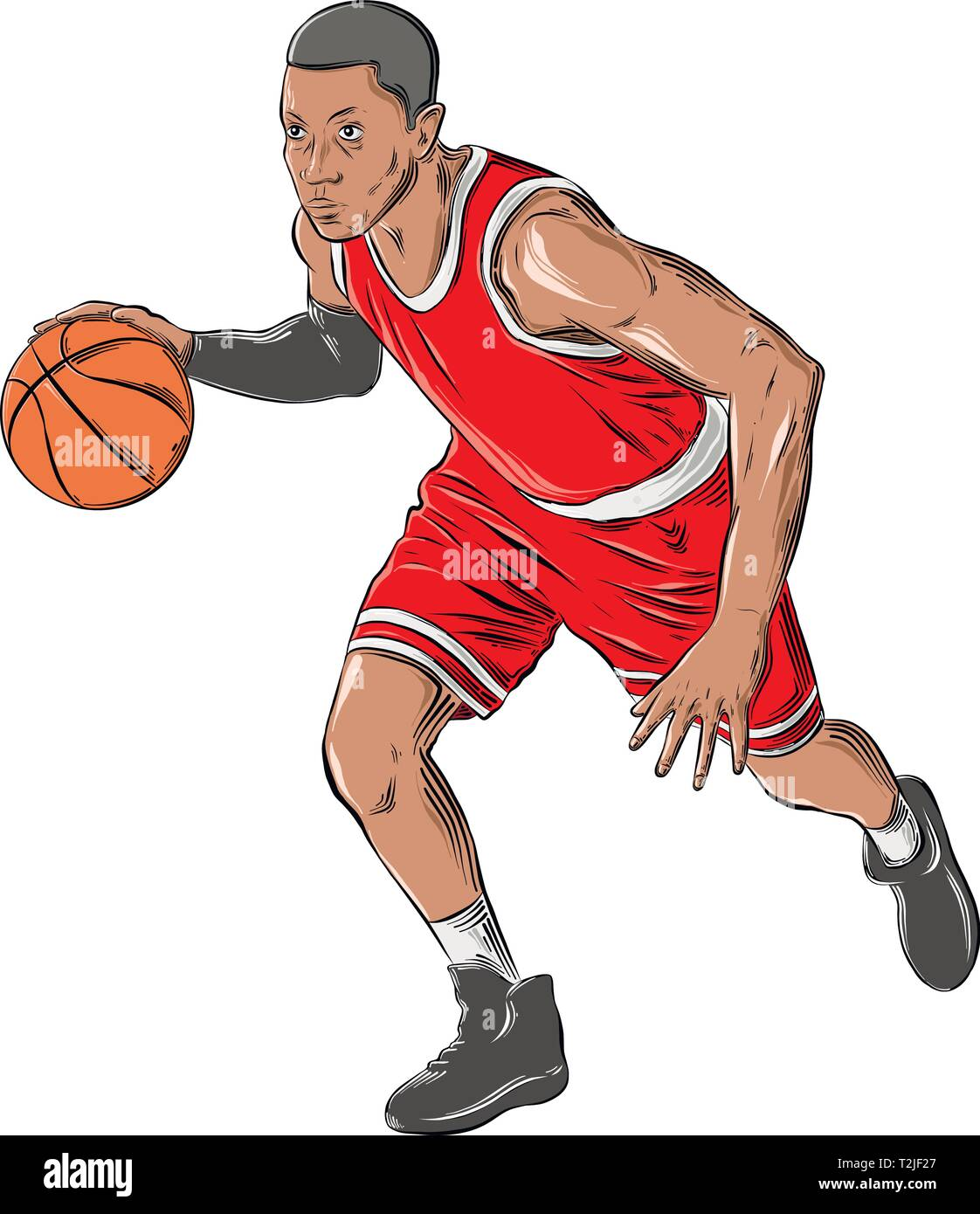 Hand Drawn Sketch Of Basketball Player In Color Isolated On White Background Detailed Vintage Style Drawing Vector Illustration Stock Vector Image Art Alamy
