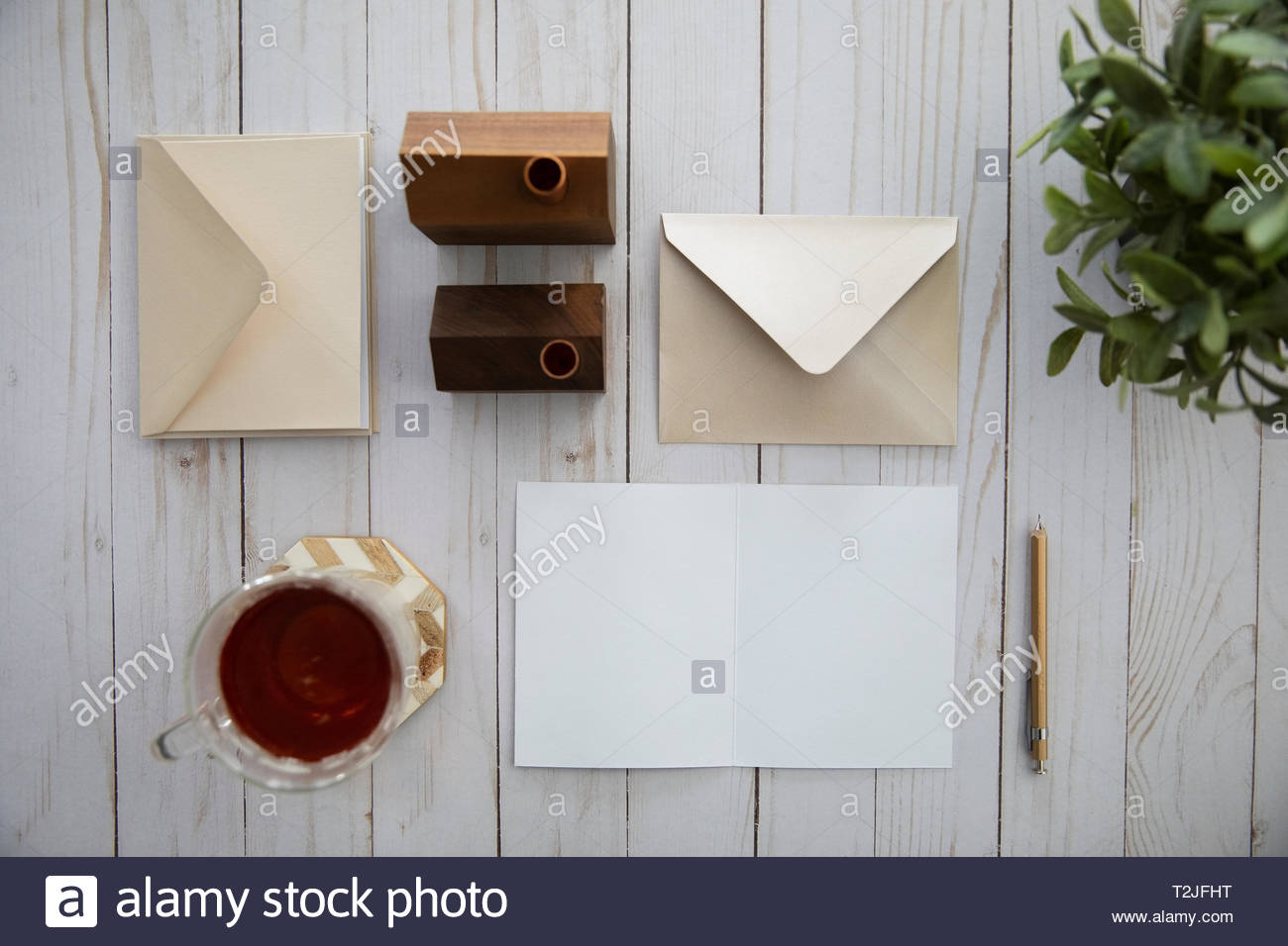 View from above letter writing and tea - Stock Image
