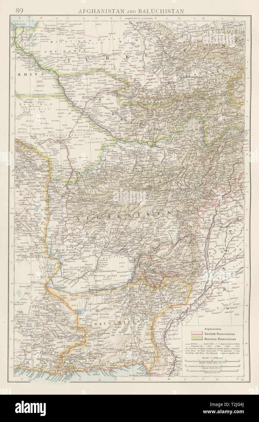 Map Of Asia 1900.Central Asia Afghanistan Baluchistan Pakistan Uzbekistan Bokhara