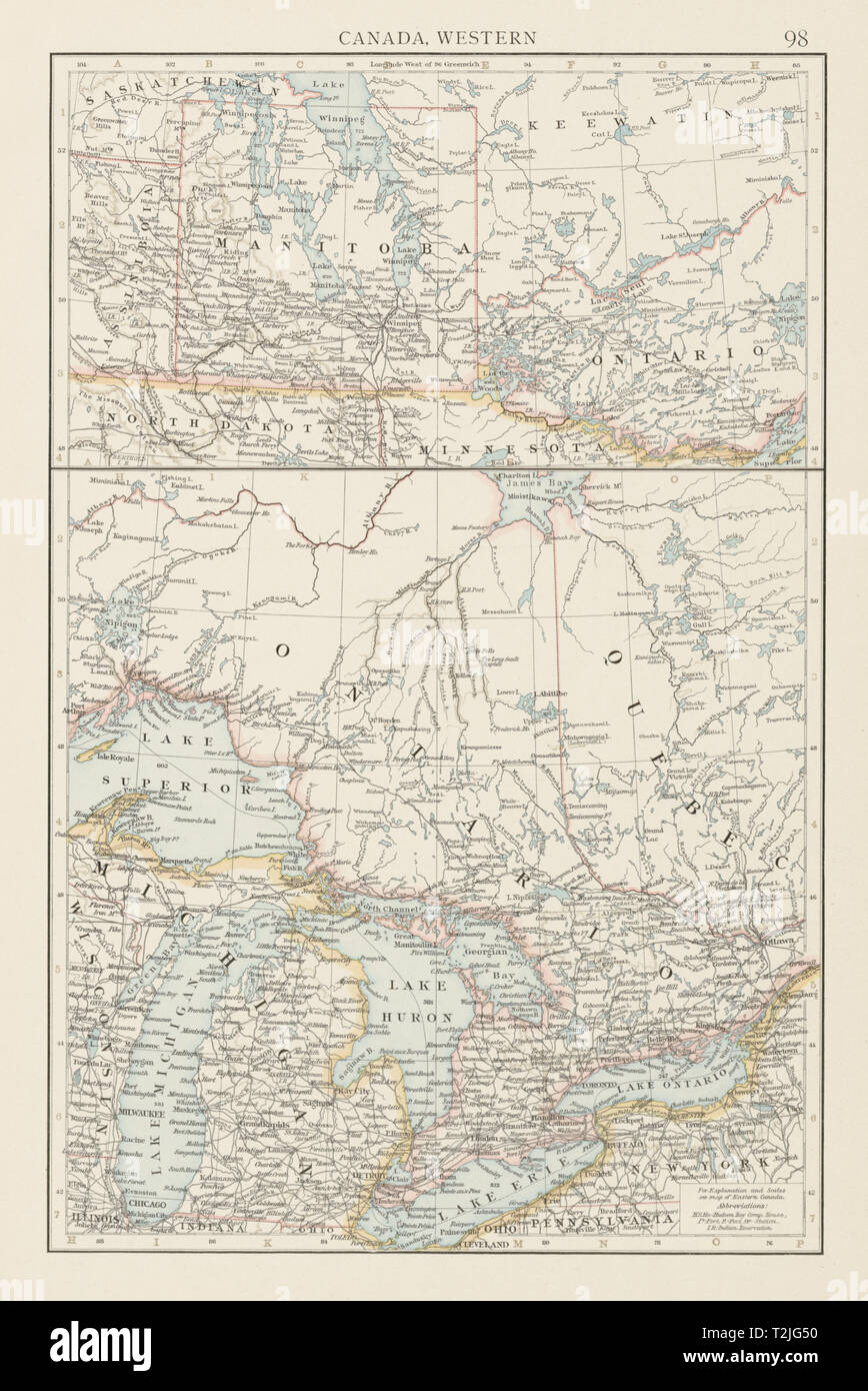 Map Of Canada 1900.Canada Western Manitoba Postage Stamp Great Lakes The Times 1900