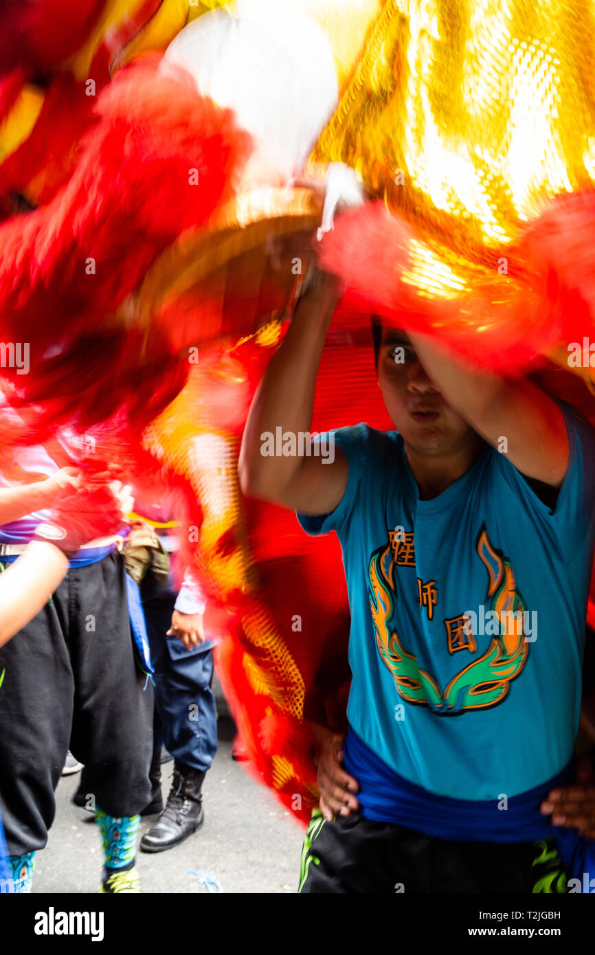 Celebration of the Chinese New Year in Lima, Peru, South America. Dance of the Dragon. Stock Photo